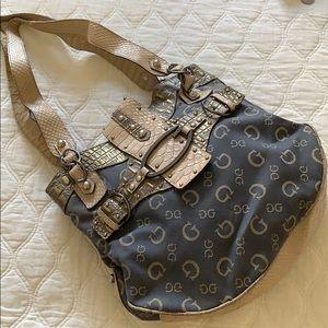 Vintage GUESS denim croc leather bag tote shoulder